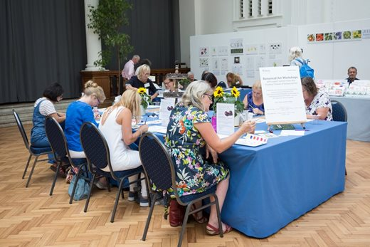 Visitors take part in workshops